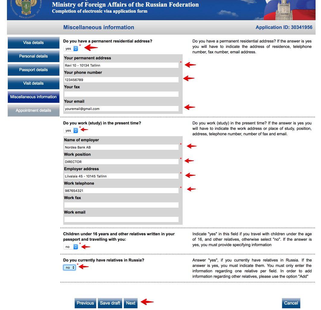 Užpildykite Rusijos vizos prašymo formą 7