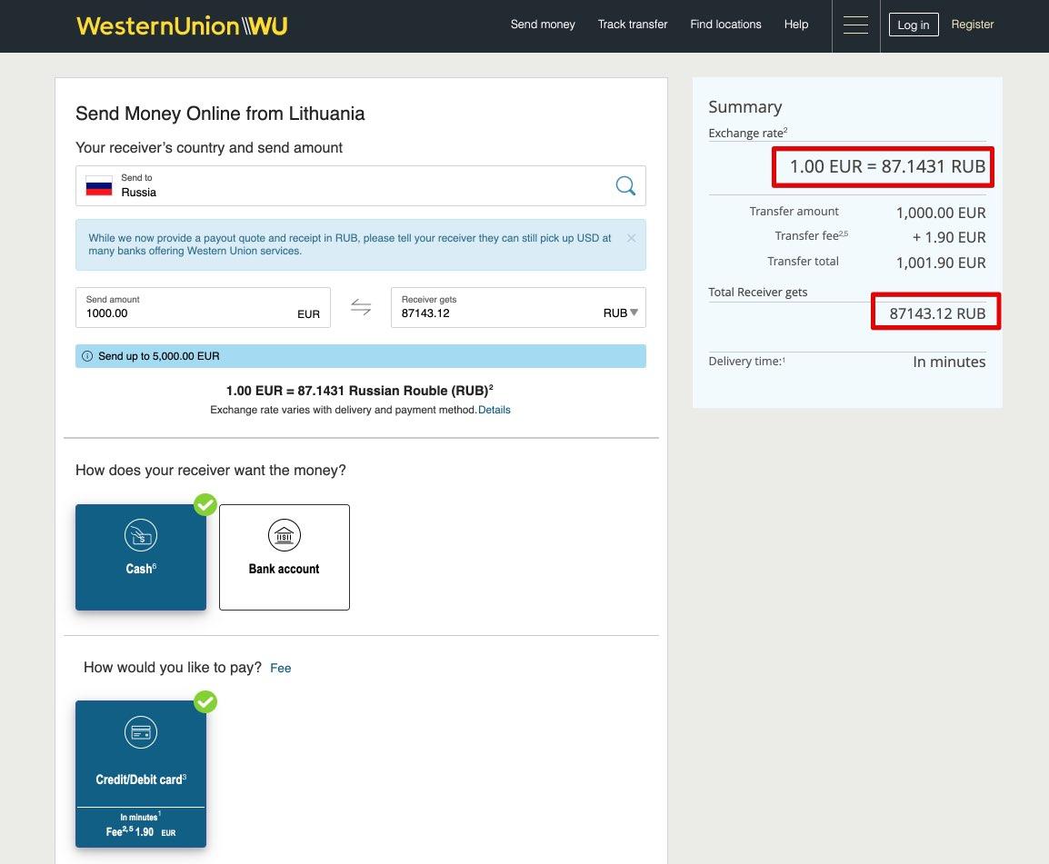 """Siųskite pinigus iš Lietuvos į Rusiją su """"Western Union"""" - grynaisiais"""